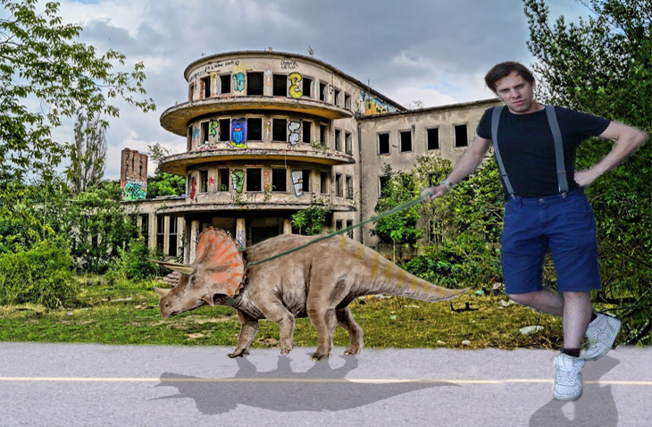 It's me, just casually walking my Triceratops!